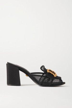 Embellished Mesh And Faille Sandals - Black