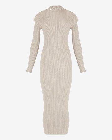 Metallic Ribbed Cap Sleeve Maxi Sweater Dress