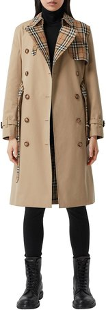 Herne Check Panel Cotton Gabardine Trench Coat