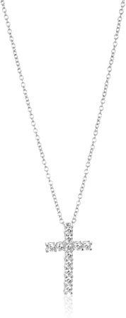 "Amazon.com: Platinum-Plated Sterling Silver Cross Pendant Necklace set with Swarovski Zirconia (1 cttw), 18"": Jewelry"