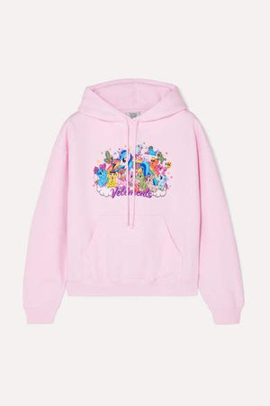 Cropped Printed Cotton-jersey Hoodie - Pink