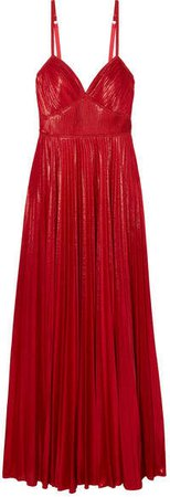 Crocheted Lace-trimmed Pleated Lamé Gown - Red