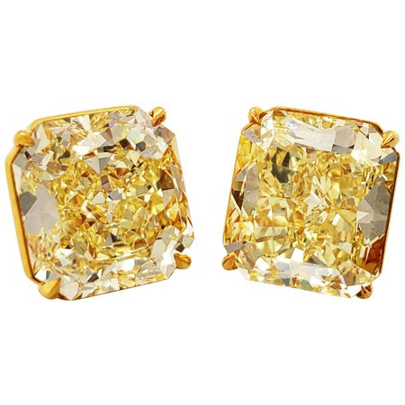 Scarselli 7 carat Yellow Diamond Stud Earrings