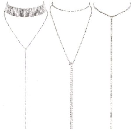 3 Pieces Layered Necklace Layered Choker Necklace Double Rhinestones Crystal Fashion Multilayered Long Choker Necklaces Rhinestone Jewelry Necklace Chains for Women and Girls