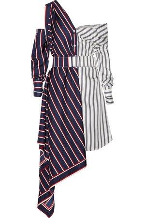 Monse | Off-the-shoulder asymmetric striped silk-twill dress | NET-A-PORTER.COM