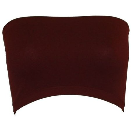 Seamless Bandeau Strapless Tube Top Bra Burgundy