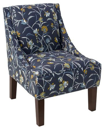 Quinn Swoop-Arm Accent Chair, Navy Floral Linen - Chairs under $500 - Shop By Price - Furniture - Category Landing Page   One Kings Lane