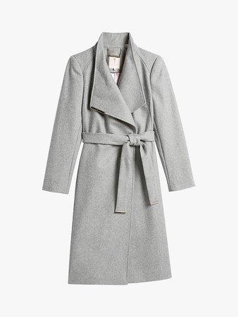 Ted Baker Rose Belted Wool Blend Coat, Grey at John Lewis & Partners
