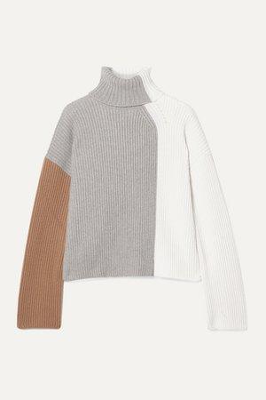 Loro Piana   Color-block ribbed cashmere turtleneck sweater   NET-A-PORTER.COM