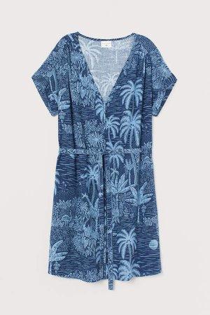 Linen-blend Dress - Blue