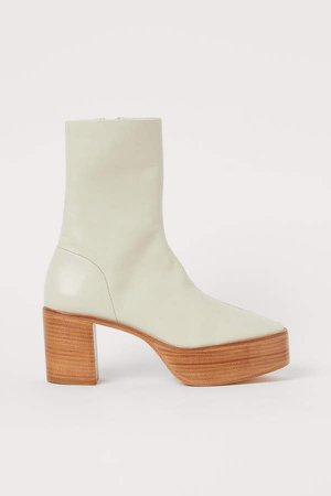 Leather Platform Boots - White