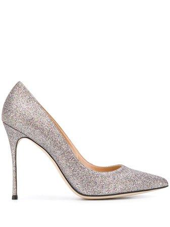 Silver Sergio Rossi Godiva 105 Glittered Pumps | Farfetch.com