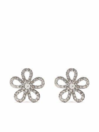 Alessandra Rich Crystal Flower Earrings - Farfetch
