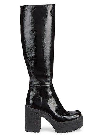 Miu Miu Lug-Sole Tall Patent Combat Boots   SaksFifthAvenue