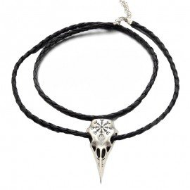 Raven Skull Leather Chord Unisex Necklace - Immoral Fashion