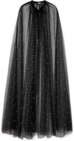 Velvet-trimmed Faux Pearl-embellished Tulle Cape - Black