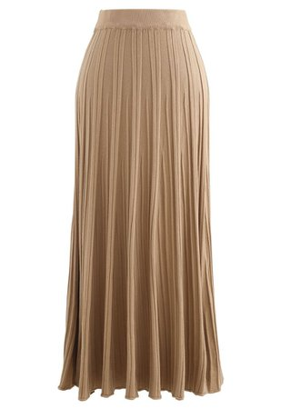 Solid Pleated Knit Skirt in Camel - Retro, Indie and Unique Fashion