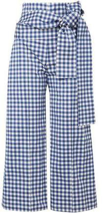 Salve Cropped Gingham Stretch-cotton Wide-leg Pants