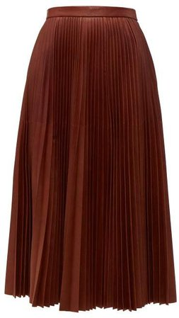 Pleated Leather Midi Skirt - Womens - Brown