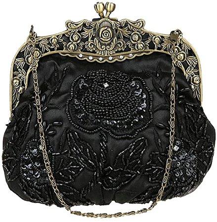 ILISHOP Women's Antique Beaded Party Clutch Vintage Rose Purse Evening Handbag (Black): Handbags: Amazon.com