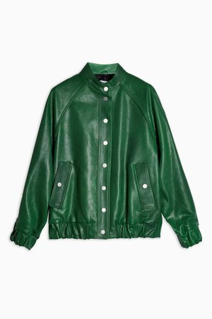 **Green Leather Bomber Jacket by Topshop Boutique | Topshop