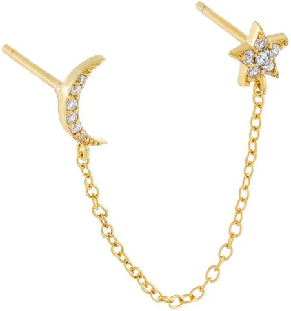 Pave Moon & Star Double Stud Earring