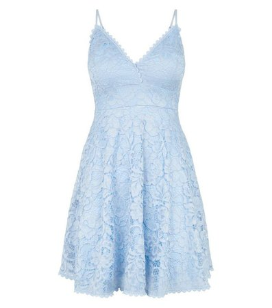 Pale Blue Lace Bustier Skater Dress | New Look