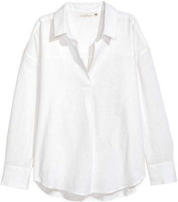 Oversized Linen-blend Shirt - White