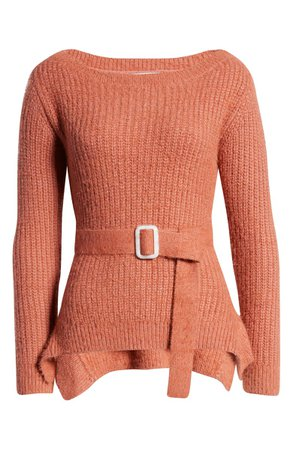 J.O.A Shaker Stitch Belted Sweater rust