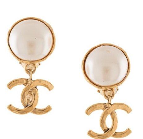 Chanel dangling cc earrings