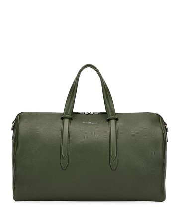 Salvatore Ferragamo Firenze Leather Weekender Duffel Bag