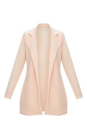 Nude Longline Blazer   Coats & Jackets   PrettyLittleThing USA