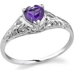 Heart-Cut Amethyst 14K White Gold Ring - FindGift.com