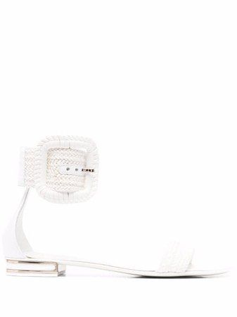 Shop white Casadei woven flat sandals with Express Delivery - Farfetch