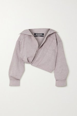 Mejean Cropped Cotton And Linen-blend Shirt - Lilac