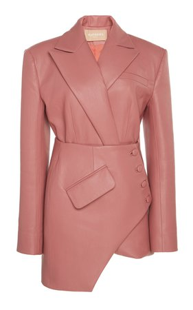 Asymmetric Faux Leather Blazer Mini Dress by MATÉRIEL