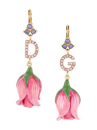 Dolce & Gabbana Crystal Embellished Flower Drop Earrings Ss20 | Farfetch.com