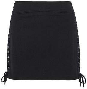 Lace-up Stretch-knit Mini Skirt