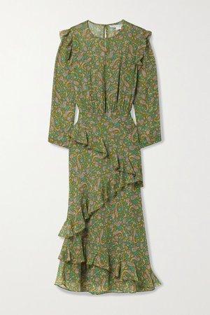 Tenise Ruffled Printed Silk Crepe De Chine Midi Dress - Green