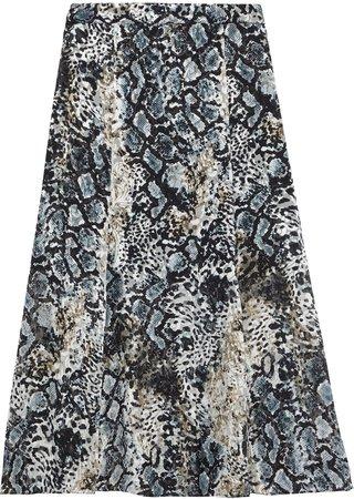 Athena Snake-print Burnout Crepe De Chine Midi Skirt