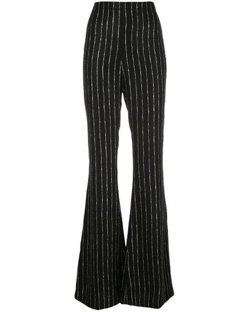 View fullscreen Christian Siriano Women's Black Striped Wide-leg Pants