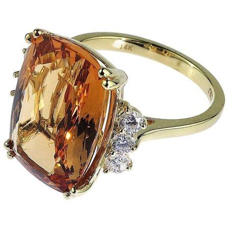 Orange Topaz Diamond Ring