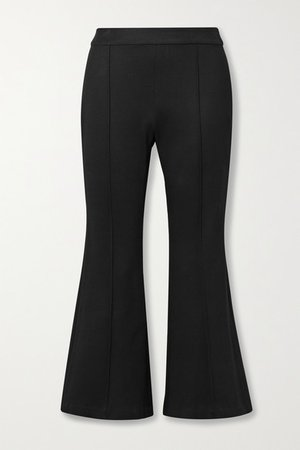Cropped Stretch-ponte Flared Pants - Black