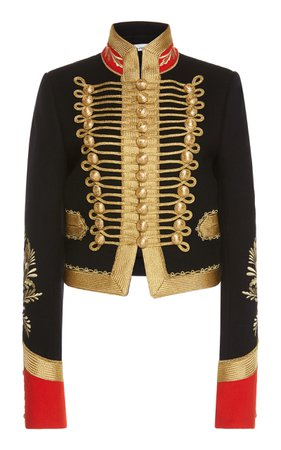 Cropped Embroidered Military Jacket by Paco Rabanne | Moda Operandi
