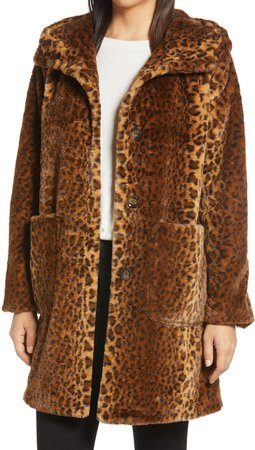 Leopard Faux Fur Hooded Coat