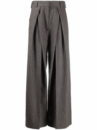 Shop Acne Studios pinstripe box pleated flared trousers with Express Delivery - FARFETCH