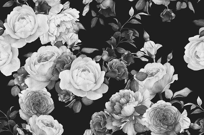 black vintage flowers
