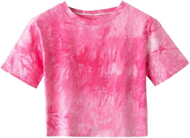 SweatyRocks Women's Tie Dye Print Summer Round Neck Short Sleeve Crop T-Shirt Top (X-Small, Tie Dye Yellow) at Amazon Women's Clothing store