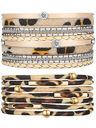 Amazon.com: Hicarer Leopard Bracelets for Women Multilayer Metal Pipe Leather Cuff Charm Wide Leather Wrap Bracelet Bohemian Jewelry with Magnet Buckle Clasp for Girls (Gold Leather): Jewelry