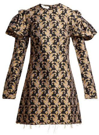 Marques'almeida - Leaf Jaquard Mini Dress - Womens - Black Gold